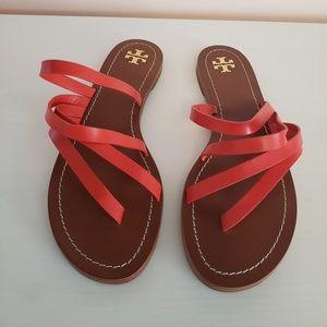 Tory Burch Patos Flat Sandals Samba Red Sz 9
